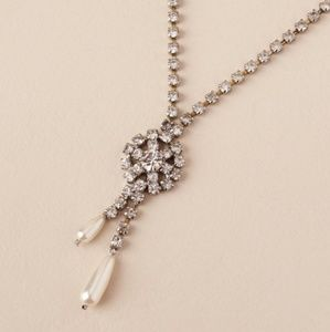 Anthropologie Alannah Necklace Paved Crystal Pearl
